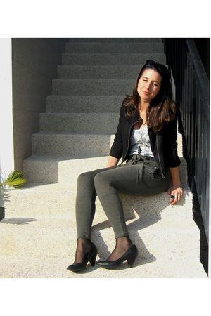 black Bershka shoes - black Stradivarius jacket - white lace pull&bear top