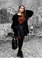 black faux leather Sheinside skirt