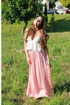 salmon maxi skirt Zara skirt - cream Zara top