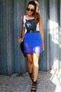 Blue-choies-skirt-black-studded-fringed-oasap-bag
