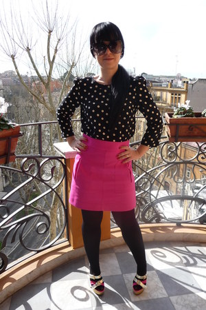 black Calzedonia tights - black Zara blouse - hot pink Zara skirt - hot pink Chr