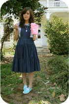 blue Keds shoes - blue estate sale dress - pink Goodwill shirt