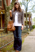 purple Vintage thrift blazer - white Caitlin Shearer shirt - blue Target jeans -