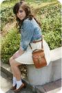 Blue-old-jacket-blue-savers-blouse-white-savers-skirt-brown-savers-shoes-