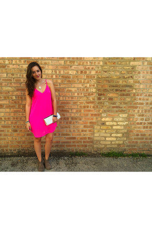 hot pink silk slip Francescas Collections dress
