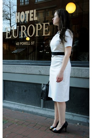 white Chanel dress - black Furla bag - black Steve Madden heels