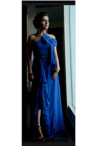 blue gauze reina diaz dress - black studs reina diaz belt