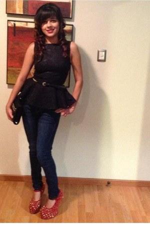 black peplum High Street shirt - navy skinny Bershka jeans