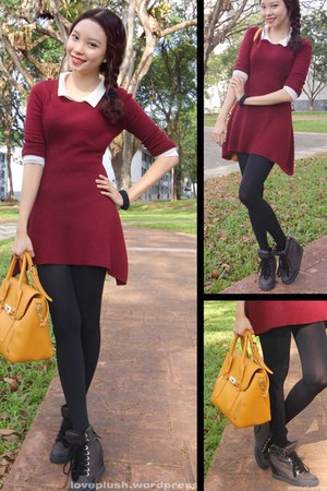 black S & H boots - maroon The Closet Lover dress