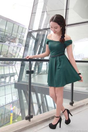 black black heels sm parisian heels - dark green agneselle dress