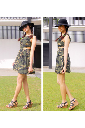 green Forever 21 dress - black beekeeper hat Topshop hat