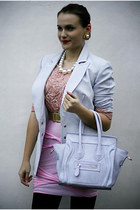 light purple OASAP bag - periwinkle vintage Thierry Mugler blazer