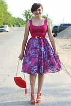 magenta floral print handmade skirt - red lip shape OASAP bag