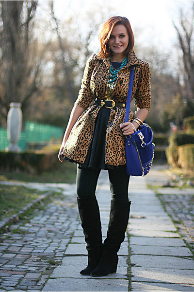 light brown leopard print H&amp;M coat - black suede Zara boots - blue OASAP bag