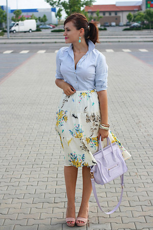 light yellow circle Mango skirt - light pink wedges Stradivarius shoes