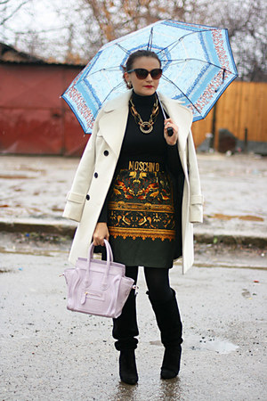 dark green printed vintage skirt - black suede Zara boots - periwinkle OASAP bag