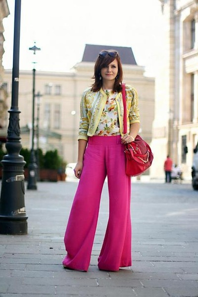 gold cropped vintage jacket - pink OASAP bag - white printed Zara blouse