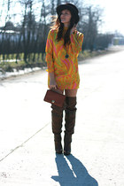 vintage dress - Stradivarius boots - vintage hat - vintage bag