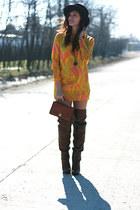 vintage dress - Stradivarius boots - vintage hat - vintage bag