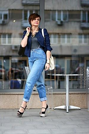 black glitter River Island wedges - blue vintage Levis jeans