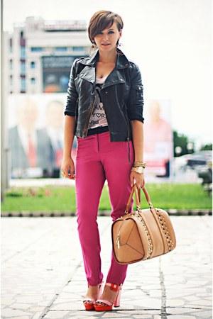 hot pink River Island pants - tawny Zara bag - pink River Island sandals