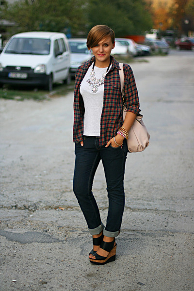 ruby red plaid vintage shirt - blue Lee Cooper jeans - black Steve Madden wedges
