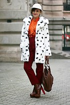 maroon Topshop boots - white Topshop coat - orange vintage shirt