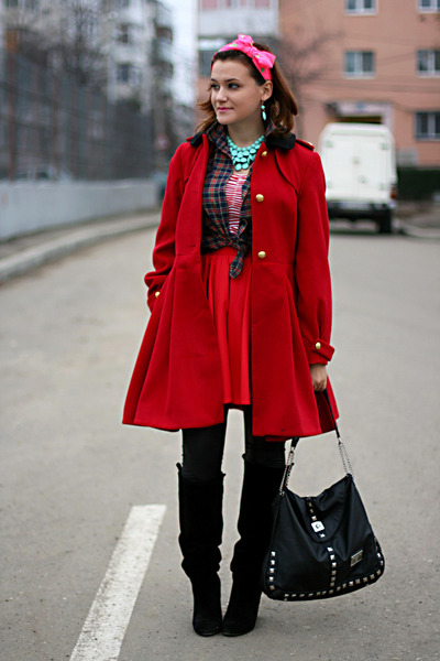 red River Island skirt - black Zara boots - ruby red Topshop coat