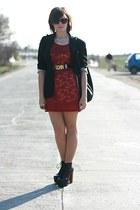 black Jeffrey Campbell shoes - red lace next dress - black vintage Moschino belt