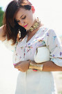 White-birds-print-oasap-blouse-ivory-vintage-purse-teal-suede-asos-sandals