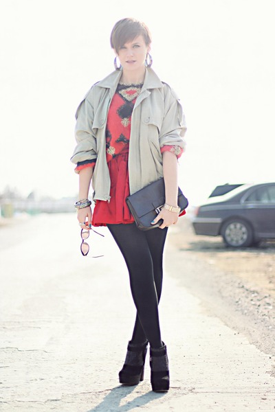 red thrifted sweater - black glitter Topshop boots - silver vintage YSL coat