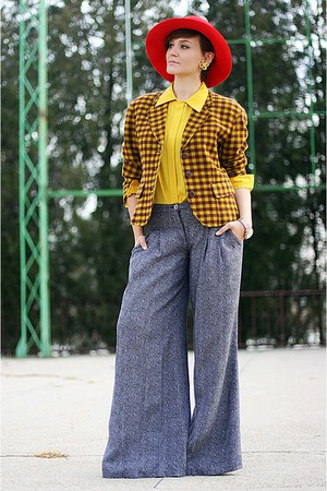 yellow vintage Kenzo blazer - light purple Mango pants