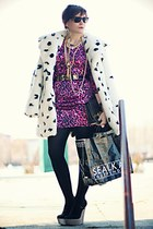 white Topshop coat - black River Island shoes - gold vintage accessories