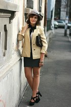 black suede Forever 21 shoes - beige vintage blazer - white sheer Miss Selfridge