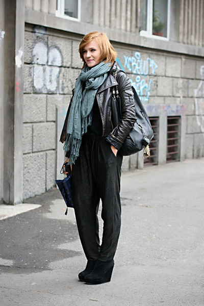 black new look boots - periwinkle Bershka scarf - black harem River Island pants