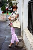 heather gray floral print vintage blazer - Topshop shoes