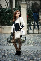 white printed OASAP coat - white chain Zara bag - tawny leopard print Zara pants
