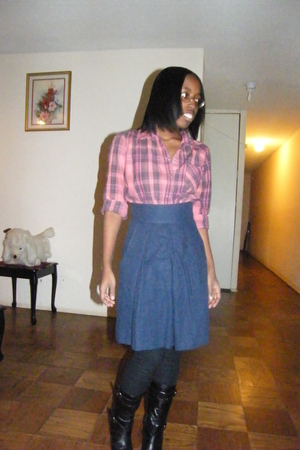 red Topshop shirt - blue Topshop skirt - black payless boots