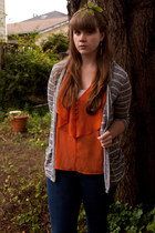 carrot orange blouse - navy Gap jeans