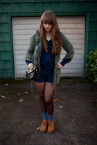 navy Urban Outfitters sweater - tawny Hush Puppies shoes