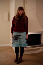 light blue Anthropologie skirt - dark brown unknown boots