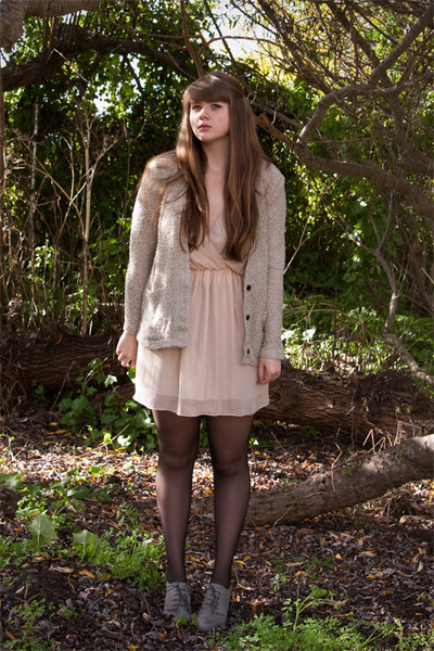light pink dress - black seamed American Apparel tights