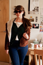 brown Urban Outfitters jacket - navy high-waisted Marc by Marc Jacobs pants