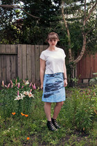 light blue Anthropologie skirt - off white Urban Outfitters top