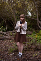 dark brown modcloth skirt - off white Anthropologie jacket