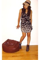 brown Primark boots - black and grey Gypsy05 dress - camel asos hat - studded Ur