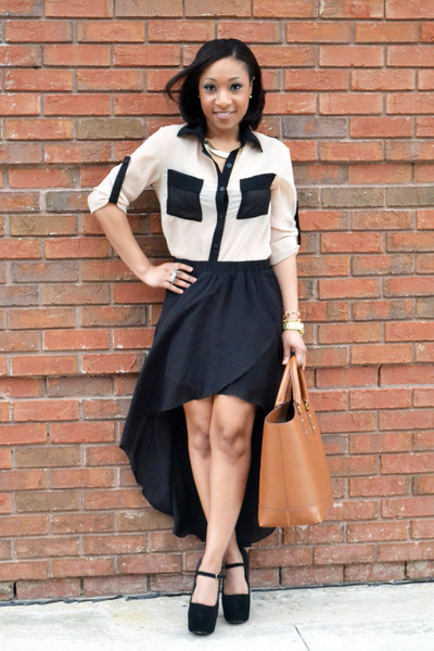 anarchy street blouse - zara purse - zara skirt - shoemint heels - hm necklace