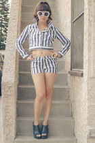 stripes Gypsy Junkies top - wedges Steve Madden shoes