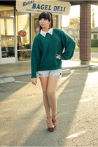 vintage sweater - Levis shorts - knee high socks Urban Outfitters socks