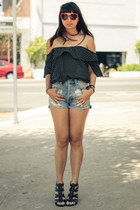 Shoedazzle shoes - slashers MinkPink shorts - heart shaped Guess sunglasses